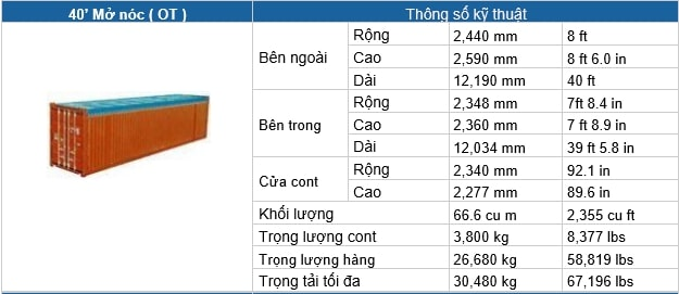 Container - Kích thước các loại container